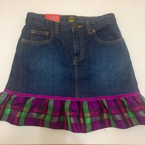 GAP Girls Denim Skirt w/ Plaid Ruffle -Sz 10